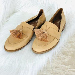 Toms Tan Leather Loafers With Tassels